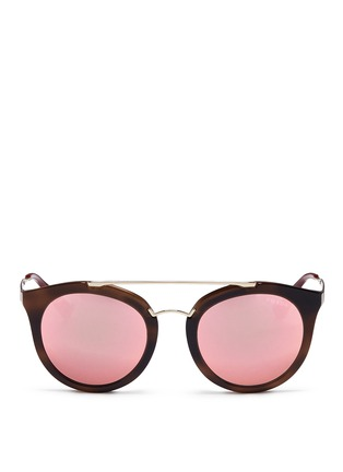 Main View - Click To Enlarge - Prada - Tortoiseshell effect interior acetate mirror sunglasses