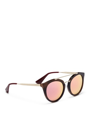 Figure View - Click To Enlarge - Prada - Tortoiseshell effect interior acetate mirror sunglasses