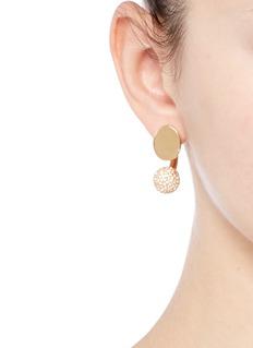 CHLOÉDarcey Round仿水晶黄铜耳环