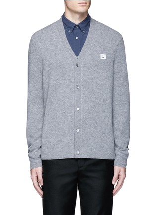 Main View - Click To Enlarge - Acne Studios - 'Dasher C Face' emoji patch wool cardigan