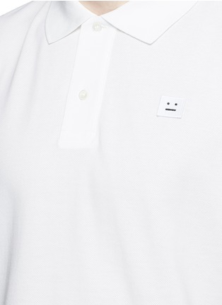 Detail View - Click To Enlarge - Acne Studios - 'Kolby Face' emoji patch cotton polo shirt