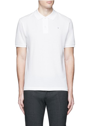 Main View - Click To Enlarge - Acne Studios - 'Kolby Face' emoji patch cotton polo shirt