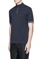 'Keller' mock turtleneck cotton polo shirt