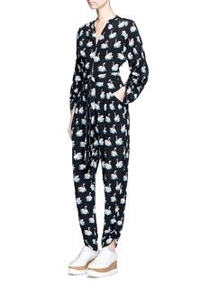 Stella McCartneyWaist tie swan print silk georgette jumpsuit