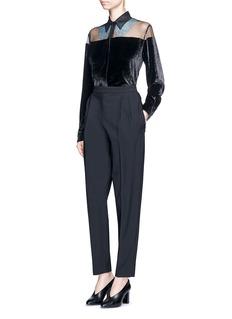 Stella McCartney'Carolina' floral lace sheer yoke velvet shirt