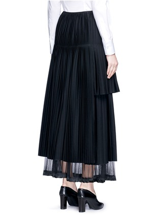 Back View - Click To Enlarge - Stella McCartney - Layered pleat wool twill maxi skirt