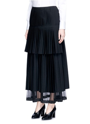 Figure View - Click To Enlarge - Stella McCartney - Layered pleat wool twill maxi skirt