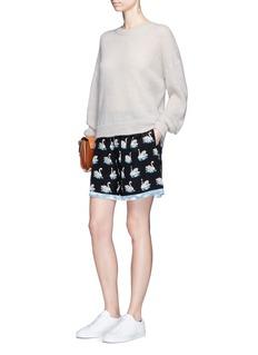 Stella McCartneySwan print fringe trim silk shorts