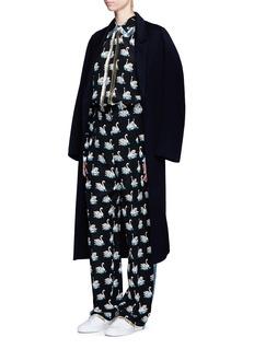Stella McCartneySwan print fringe trim silk shirt