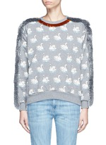 Fringe trim swan print cotton sweatshirt