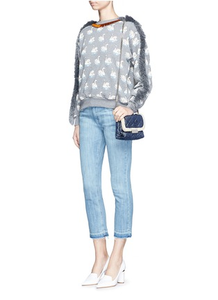 Stella McCartney - Fringe trim swan print cotton sweatshirt