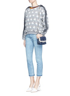Stella McCartney Fringe trim swan print cotton sweatshirt