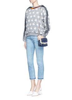 STELLA MCCARTNEYFringe trim swan print cotton sweatshirt