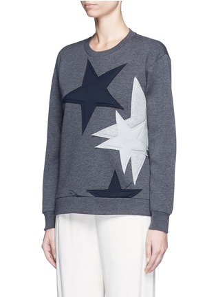 Front View - Click To Enlarge - Stella McCartney - Star patch embroidered bonded jersey sweatshirt