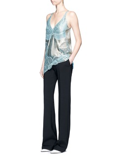 Stella McCartney Metallic foil floral guipure lace crepe camisole top