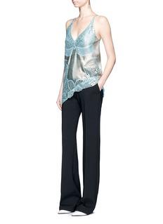 Stella McCartneyMetallic foil floral guipure lace crepe camisole top