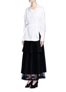 Stella McCartney Asymmetric button tie waist cotton shirt
