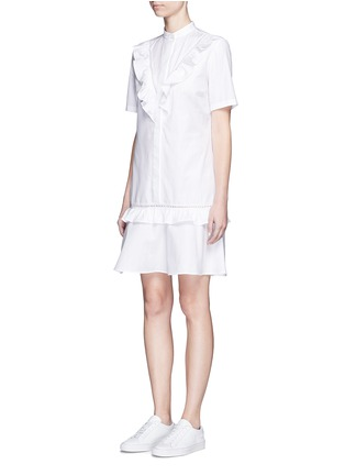 Front View - Click To Enlarge - Stella McCartney - Ruffle lace trim shirt dress