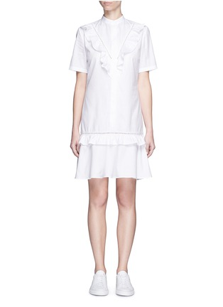 Main View - Click To Enlarge - Stella McCartney - Ruffle lace trim shirt dress