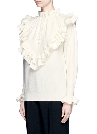 Front View - Click To Enlarge - Stella McCartney - Ruffle trim felted virgin wool sweater