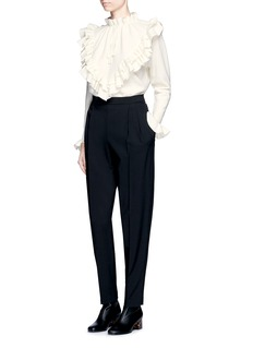 Stella McCartneyRuffle trim felted virgin wool sweater
