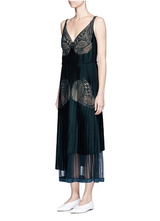 Front View - Click To Enlarge - Stella McCartney - Floral lace sable satin dress