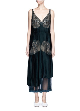 Main View - Click To Enlarge - Stella McCartney - Floral lace sable satin dress