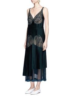 Stella McCartneyFloral lace sable satin dress