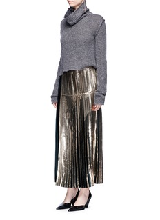 Stella McCartney Metallic foil sable satin pleated skirt