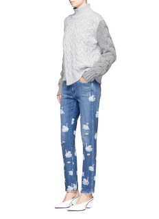 Stella McCartney Bleached swan print slim fit jeans