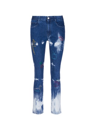 Main View - Click To Enlarge - Stella McCartney - Embroidered acid wash skinny boyfriend jeans