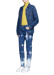 Stella McCartney Embroidered acid wash skinny boyfriend jeans