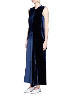 Stella McCartneySatin and velvet colourblock midi dress