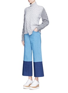 Stella McCartneyPatchwork cuff cropped wide leg jeans