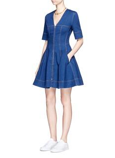 Stella McCartney'Lucette' zip front flare denim dress