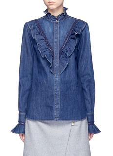 Stella McCartneyLace trim ruffle cotton denim shirt