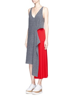 Stella McCartney Asymmetric pleated high-low wool skirt