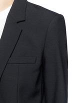 Crossbody strap cutoff pocket wool blazer