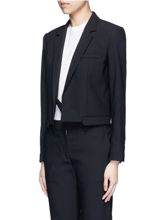 Front View - Click To Enlarge - Helmut Lang - Crossbody strap cutoff pocket wool blazer