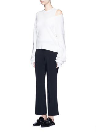 模特儿示范图 - 点击放大 - HELMUT LANG - 弹性绉绸喇叭裤