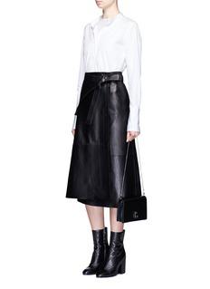Helmut LangLambskin leather wrap midi skirt