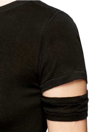 Detail View - Click To Enlarge - Helmut Lang - Cutoff sleeve cotton-cashmere T-shirt