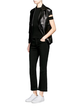 Figure View - Click To Enlarge - Helmut Lang - Cutoff sleeve cotton-cashmere T-shirt