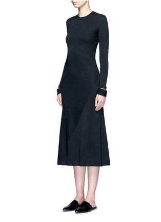 Front View - Click To Enlarge - Helmut Lang - Detached cuff virgin wool blend knit dress