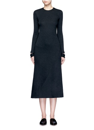 Main View - Click To Enlarge - Helmut Lang - Detached cuff virgin wool blend knit dress