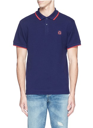 Main View - Click To Enlarge - McQ Alexander McQueen - Geometric logo cotton polo shirt