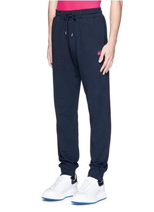 Front View - Click To Enlarge - McQ Alexander McQueen - Swallow skull patch appliqué sweatpants