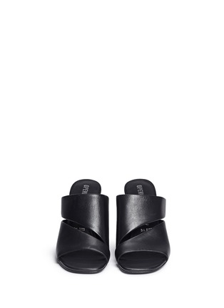 Front View - Click To Enlarge - Opening Ceremony - 'Dinero' twisted metallic heel cutout leather mules