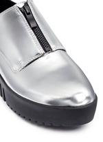 'Spectator' metallic leather zip platform derbies
