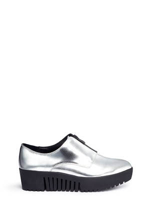 Main View - Click To Enlarge - Opening Ceremony - 'Spectator' metallic leather zip platform derbies